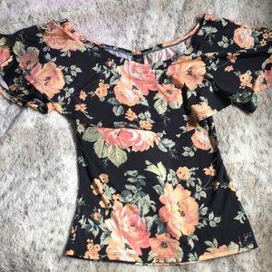 Tops - Floral Off the Shoulder Blouse